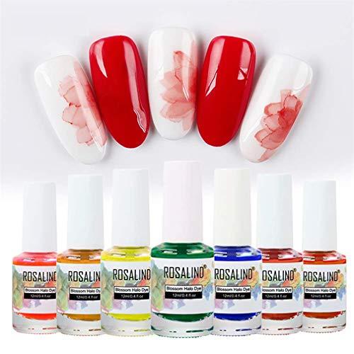 ROSALIND Blossom gel uñas - Esmalte en gel para uñas, teñido de halo mágico, barniz de uñas, acuarela, Soak Off UV LED, juego de 8 colores, 12 ml