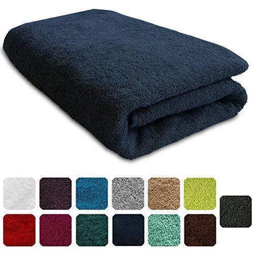 Lanudo XXL-Duschtuch Pure Line Badetuch mit Webbordüre 100% Baumwolle, Marineblau