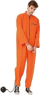 Boo! Inc. CONNIVING Convict Men's Halloween Costume Jailbird Orange Black Prison Jumpsuit