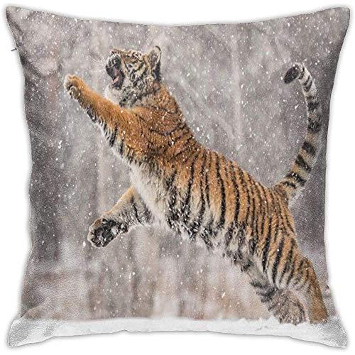 July Tiger Springen in de winter kussensloop vierkante kussensloop voor thuis, sofa, slaapkamer, auto, stoel, huis, party