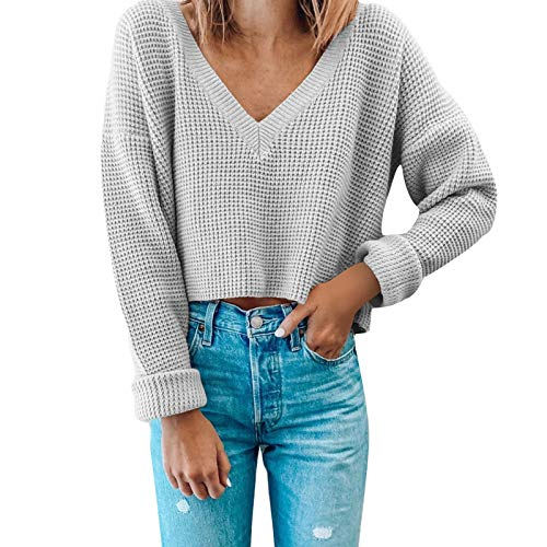 Letdown Accessories Womens Deep V Neck Wrap Sweaters Long Sleeve Waffle Knit Pullover Hollow Out Solid Color Tops Sweatshirts