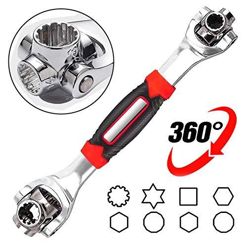 Llave de vaso multifunción, 48 en 1, llave de cabeza giratoria de 360 grados, funciona con tornillos de estribo y pernos cuadrados dañados, 6 puntos 12 puntos, cualquier tamaño estándar o métrico