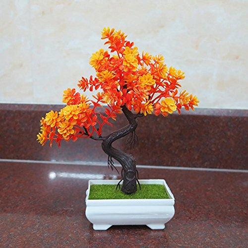 künstliche Bonsai Künstliche Bonsai-Baum Pflanzen Dekoration New Kunstpflanze Pflanze,Japanischer Feng Shui Pinien,Feng Shui Lucky Deko,Kunstbaum,Höhe ca. 24 cm,orange, 40