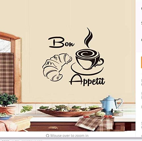Franse Koffie Lepel Chef Muursticker Restaurants Eetdecoratie Keuken Decals Vinyl Verwijderbaar 46 * 44Cm