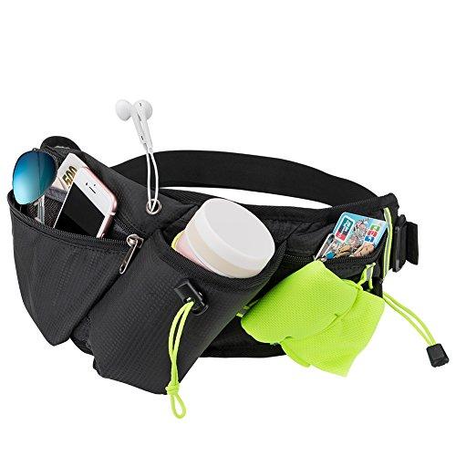 Riñonera para correr con soporte para botella de agua, impermeable, riñonera para ciclismo, jogging, cinturón para perro, bolsa para correr, para viajes, vacaciones, camping, escalada, senderismo al aire libre