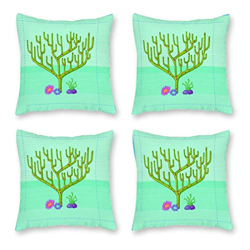 SUISSEWIN Set of 4 Pattern Pillow Cases, Throw Cushion Cover Canvas Pillowcase Home Decoration,45x45cm Hanukkah Personality Coral Green Tree