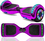 cho 6.5' inch Hoverboard Electric Smart Self Balancing Scooter with Built-in Wireless Speaker LED Wheels and Side Lights Safety Certified (Chrome Purple)