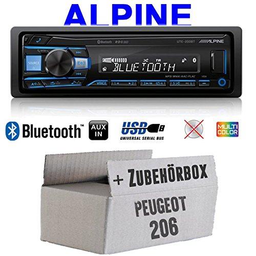Autoradio Radio Alpine UTE-200BT Bluetooth USB MP3 | 1-DIN PKW KFZ 12V Einbauzubehör - Einbauset für Peugeot 206 - JUST SOUND best choice for caraudio