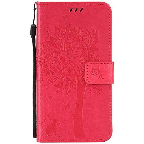 C-Super Mall-UK Asus Zenfone Selfie ZD552KL hülle: Geprägte Baum Katzen-Schmetterlings-Muster PU-Leder-Mappen-Standplatz -Schlag-hülle für Asus Zenfone Selfie ZD552KL(Rose rot)