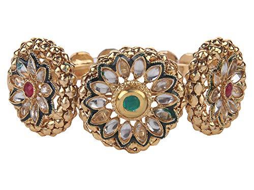 Efulgenz Fashion Jewellery - Pulsera de bollywood india chapada en oro de 14 quilates, diseño floral de imitación de cristal Kundan (1 unidad)