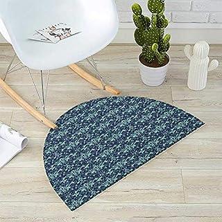 "Damask Half Round Door mats Dark Background with Complex Flower Patterns Eastern Design Dots and Leaves Bathroom Mat H 51.1"" xD 76.7"" Mint Dark Blue"