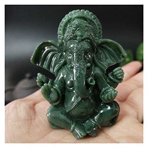 JXXDDQ Lord Ganesha Statue Buddha Elefant Gott skulptur Ganesh Figuren Mann Made Jade Stein Handwerk Hausgarten Blumentopf Dekoration (Color : Green)