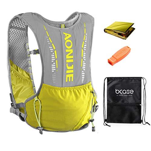 BECASE Chaleco hidratación, 5L, Chaleco para Correr, Ideal para Trotar, Hacer Senderismo y Otros Deportes al Aire Libre, Color Amarillo, Incluye Bolsa Deportiva
