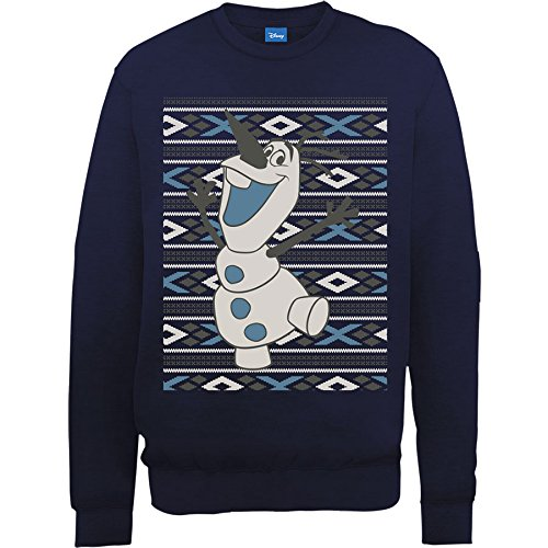 Disney Frozen Christmas Olaf Smile Sweat-Shirt, Bleu-Bleu Marine, Large Homme