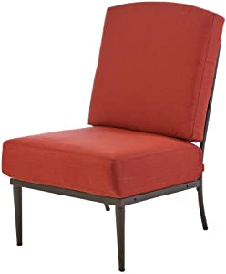 Hampton Bay Oak Cliff Patio Metal Armless Lounge Chair with Chili Cushion