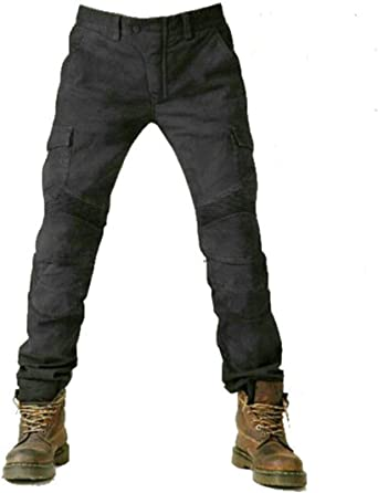 Breathable Super Stretch Motorcycle Trousers with 4 Removable Protective Pads Mens Motorcycle Riding Jeans Trousers Anti-fall Motorcycle Pants black,L