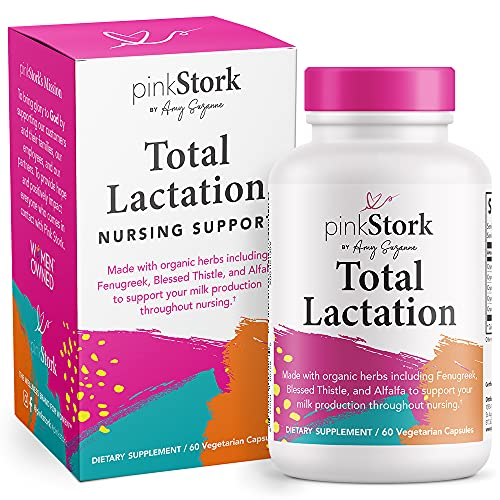 Pink Stork Total Lactation: Breastfeeding Support for Mom + Baby with Fenugreek, Supports Breast Milk Supply, Flow, + Taste, Women-Owned, 60 Capsules