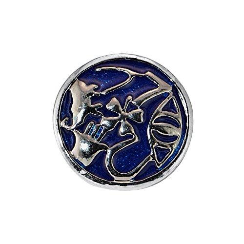 Quiges Damen Click Button 18mm Chunk Blaue Ornament für Druckknopf Zubehör
