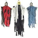 JOYIN 3 Stück hängenden Skelett Gespenst Halloween Dekorationen (EIN 89cm Skelett Geister und Zwei 63cm Grim Reaper)