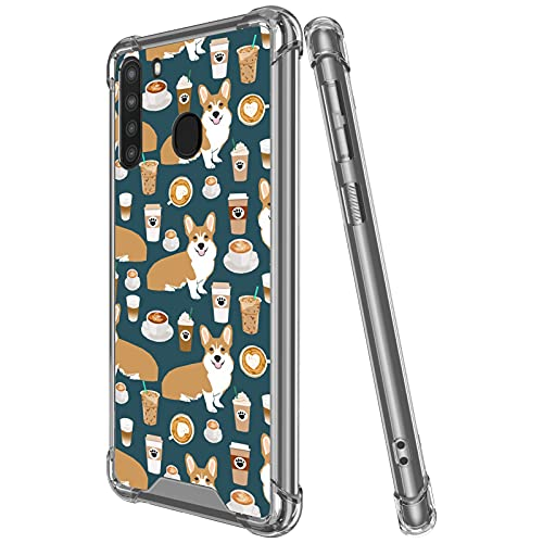 TEAUGHT Compatible with Samsung Galaxy A21 Case (6.5 inch) Clear Cute Dog Corgi Creative Pattern Soft TPU Hard PC Back Shockproof Protection Slim Case for Samsung Galaxy A21