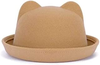 KCBYSS Women Winter Autumn Unique Cute Wool Felt Cat Ears Hat Cap Christmas Fodoras Bucket Caps for Girls Hats (Color : Silver, Size : Adult Size)