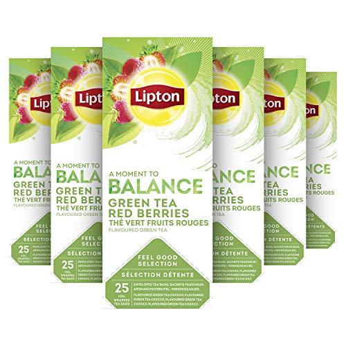 Lipton Feel Good Selection Groene Thee met Rood Fruit 6 x 25 zakjes Voordeelverpakking