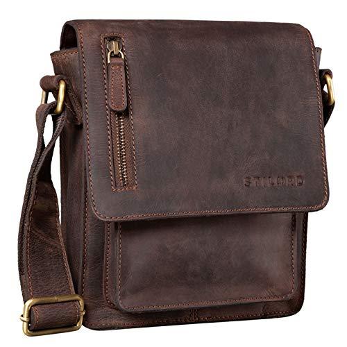 STILORD 'Finn' Bolso Mensajero Mediano de Piel Vintage para Mujeres y Hombres Bolsa de Hombro o Bandolera Mariconera Tablet de 8.4' auténtico Cuero, Color:Granada - marrón