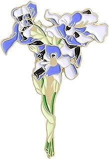 Girasoli Iris Spille smaltate Bouquet personalizzato Spille Borsa Vestiti Spilla da bavero Distintivo Gioielli vegetali Re...
