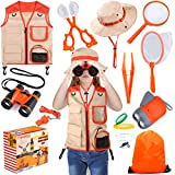 Kids Explorer Kit, 11 Pcs Outdoor Exploration Kit with Binoculars, Costume Vest, Safari Hat, Bag, Hand-Crank Flashlight, Magnifying Glass and Whistle, Camping, Educational Toy Gift for Boys & Girls