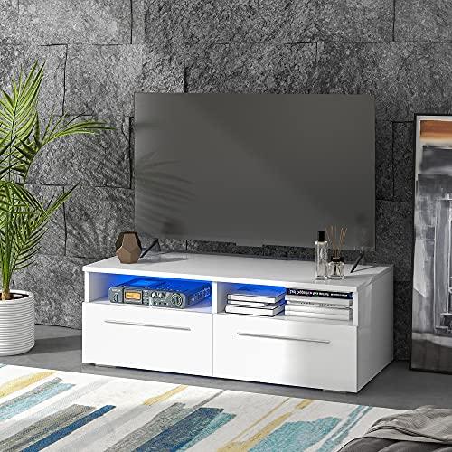 Mueble bajo para TV en color blanco brillante con iluminación LED, mueble para televisión, mueble para televisión, mueble de pie de alta calidad con mucho espacio para tu salón