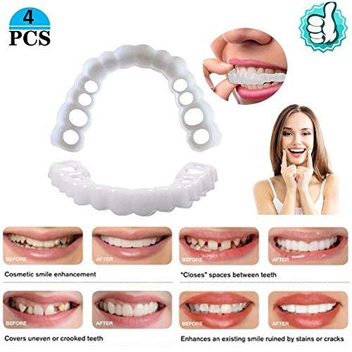 SXFD Provisorischer Zahnersatz für Männer und Frauen Kosmetische Zähne Veneers Prothese Zahnmedizin wiederverwendbaren und Abnehmbaren Zahnprothese 4 stücke