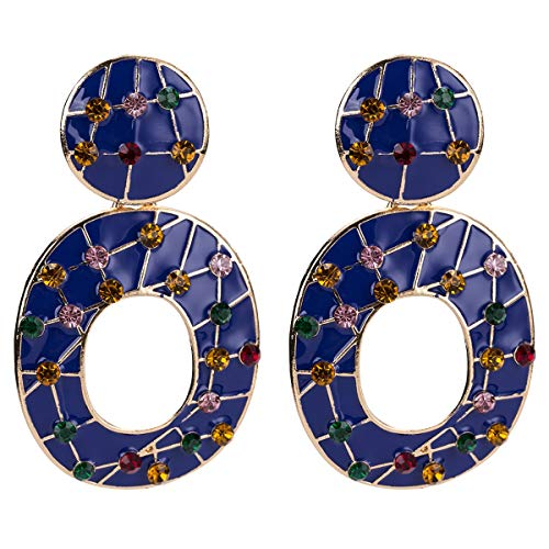 VIWIV Pendientes Europa y los Estados Unidos anillo de diamantes a cuadros exagerados pendientes geométricos de aleación multicapa con pendientes de viento INS para mujer (color: azul)