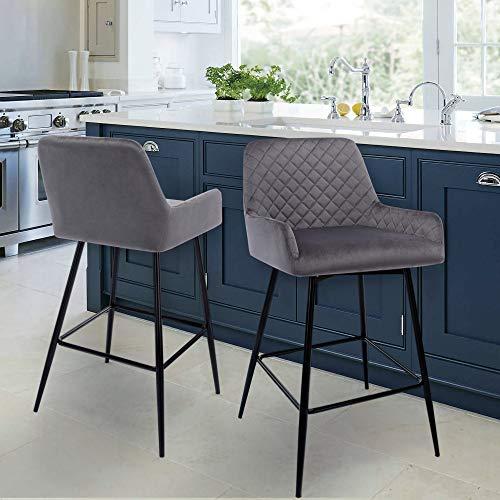 YsinoBear Retro Grey Bar Stool Set of 2 Velvet Backrest & Armrest Black Metal Legs Counter Breakfast Chairs Kitchen