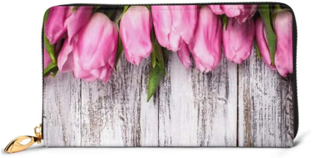 Fashion Handbag Zipper Wallet Pink Tulips Over Shabby White Wooden Phone Clutch Purse Evening Clutch Blocking Leather Wallet Multi Card Organizer