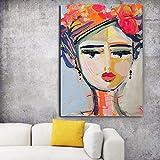 KWzEQ Imprimir en Lienzo Chica Abstracta Moderna para Sala de Estar Cuadros Decorativos y Carteles Arte de pared50x60cmPintura sin Marco