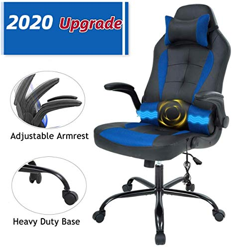 Massage Gaming Chair-Height Adjustable PU Leather High Back PC Racing Executive Massage Chair w/Adjustable Lumbar Support Flip Up Arms, Swivel Computer Desk Office Game Chair for Home Office(Blue) blue chair gaming