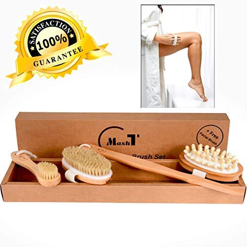 Dry Brushing Body Brush Set for Exfoliating Dry Skin |...