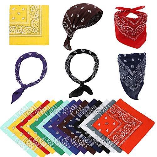MWOOT 12er Set Multifunktional Baumwolltücher als Paisley Bandanas/Haarband/Kopftuch/Halstuch/Schweisband/Nikituch/Schal Mischfarben 55×55CM