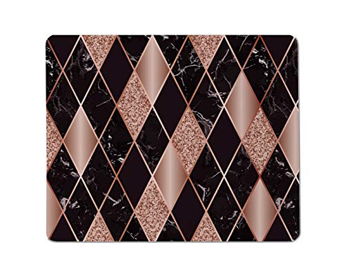 Yeuss Marble Texture Rectangular Non-Slip Mousepad Vector Rose Gold, Golden Glitter and Black Diamond Pattern Surface with Pink Golden Geometric Diagonal Gaming Mouse pad 200mm x 240mm