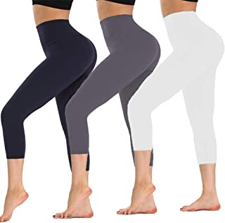 ZOOSIXX High Waisted Soft Capri Leggings for Women-Tummy Control and Elastic Opaque Slimming Reg/Plus Size
