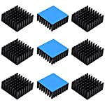 10pcs Aluminum Heatsink 25x25x10mm / 0.98x0.98x0.39 inches with Thermal Conductive Adhesive Tape for Electronic Chip MOS IC Diode Triode Cooling Heat Dissipation