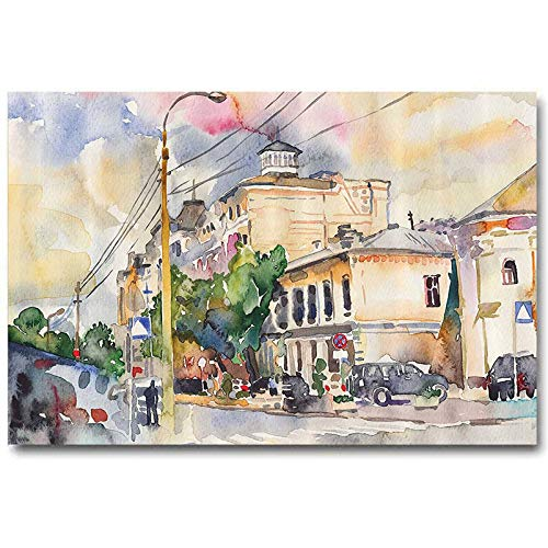 Urban Christmas Wall Decorations Indoor Watercolor Painting of a City Street with Buildings and Cars Soft Artistic Display Best Mens Gifts 2020 Multicolor L30 x H60 Inch
