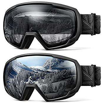 OutdoorMaster Kids Ski Goggles Snowboard Goggles - Snow Goggles for Kids,Youth with Anti-Fog 100% UV Protection Spherical Lens Helmet Compatible for Boys Girls - Black/Grey + Black/Clear