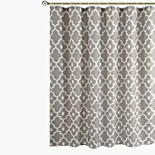 Biscaynebay Textured Fabric Shower Curtains, Morocco Pearl Printed Bathroom Curtains, Silver Grey 72 by 72 Inches