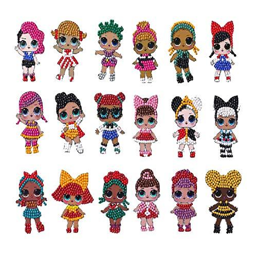 Pintura de Diamante de LOL Surprise Muñecas 5D Pegatinas por Numeros DIY Regalos de Cumpleaños para Niños Adultos18 Piezas