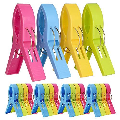 Chostky 20 clips de plástico para toallas de playa, para sillas, resistentes al viento, pinzas para colgar ropa, y colchas, pinzas para ropa y colchas, para tumbonas, 4 colores brillantes
