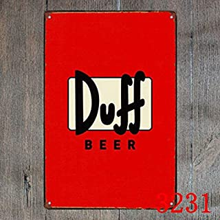 Duff Beer Sticker 8x12 Inches Metal Tin Sign,Vintage Retro Plaque Poster - Decor Bar Pub Home Cafe Wall Art