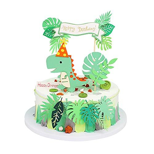 4 Stück Dinosaurier Alles Gute zum Geburtstag Cake Topper Wald Grünes Blatt Cake Topper Green Glitter Dino Dschungel Kuchen Pick Babyparty Kinder Geburtstagsfeier Kuchen Dekorationen Zubehör