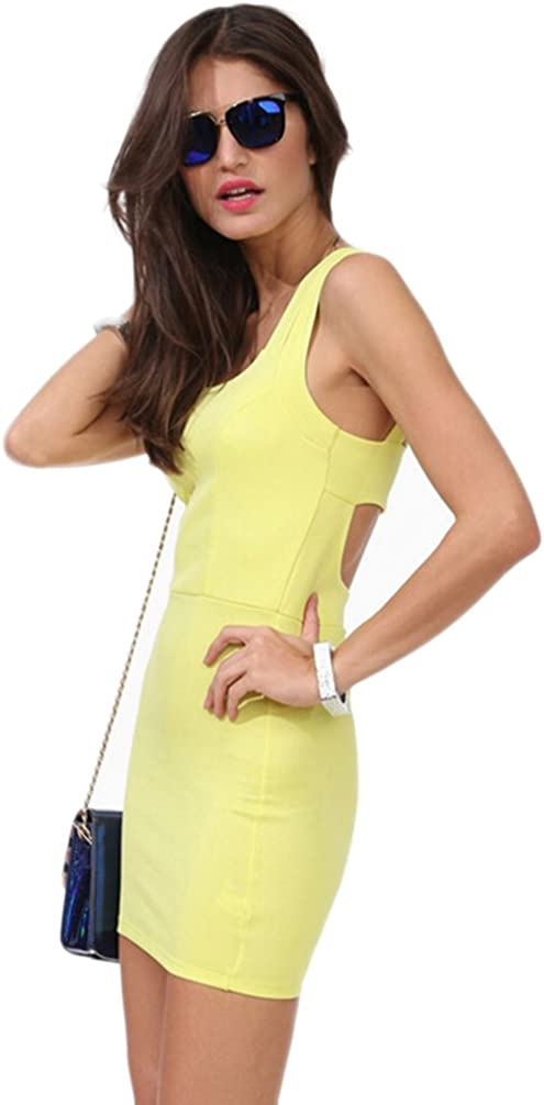 KM Women's Sexy Brace Hollow Slim One-step Dress