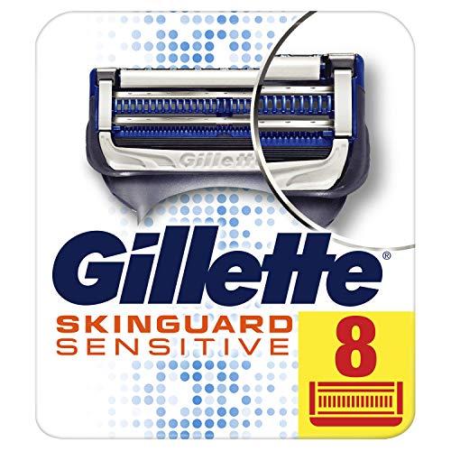 Gillette SkinGuard Sensitive Cuchillas de Afeitar Hombre, Paquete de 8 Cuchillas de Recambio